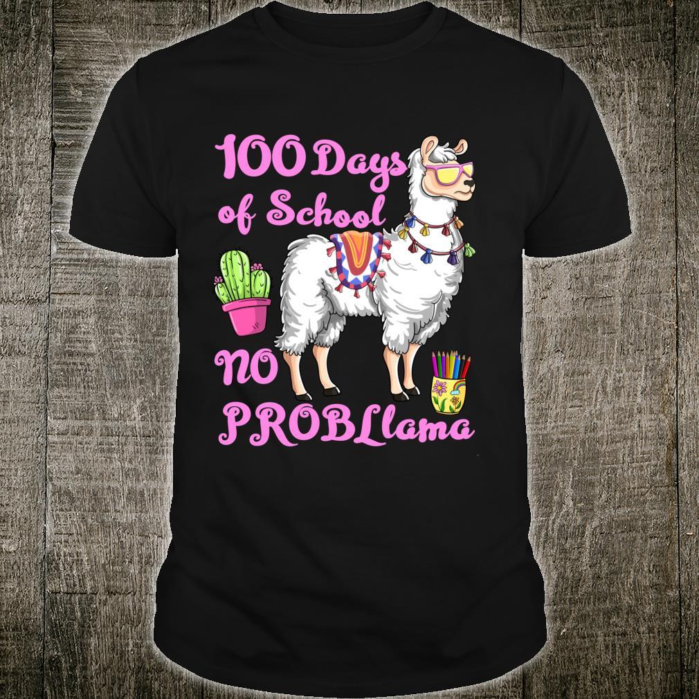 100 Days Of School No Probllama Llama Teachers Students Shirt