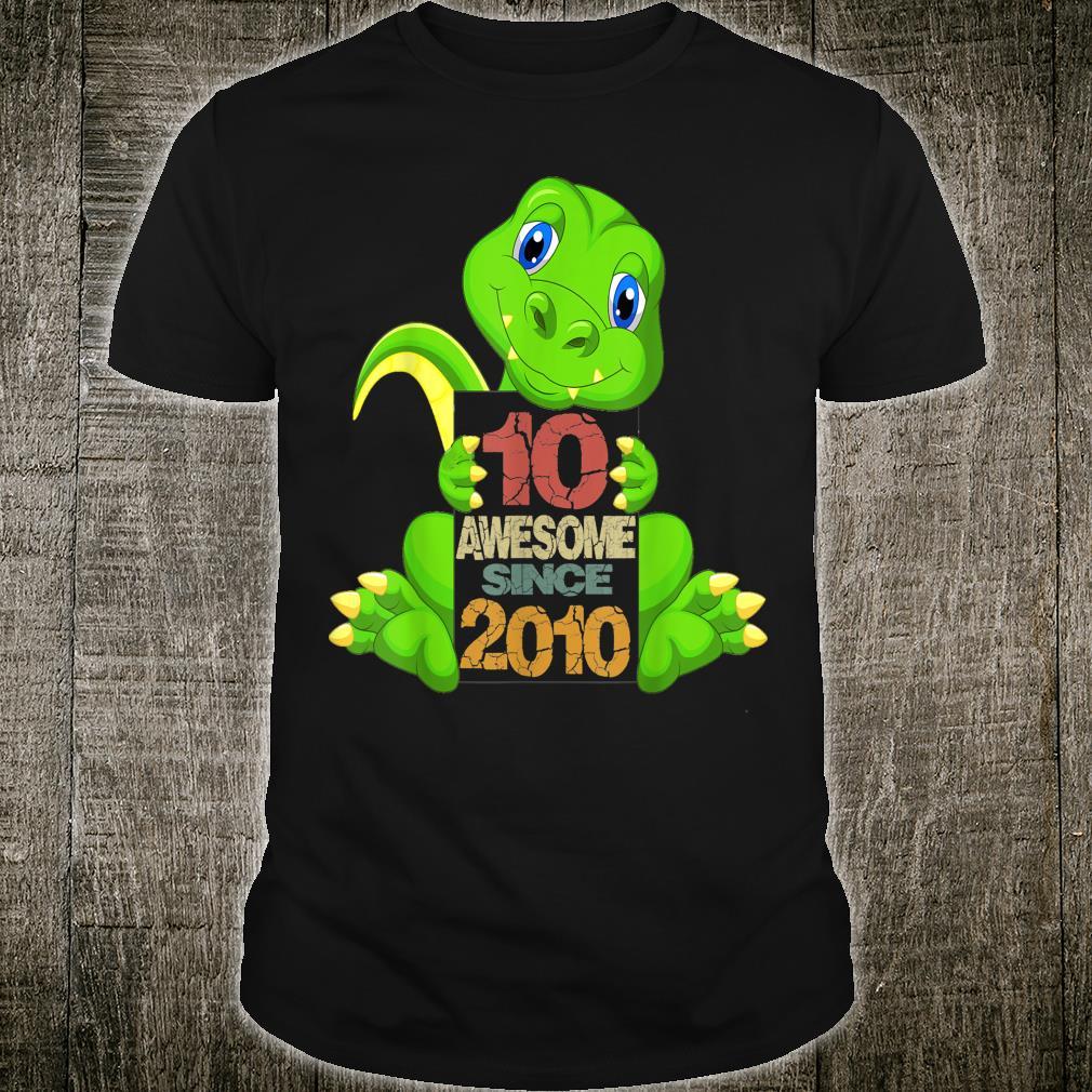 10th Birthday Awesome Sine 2010 Dinosaur 10 Years Old Shirt