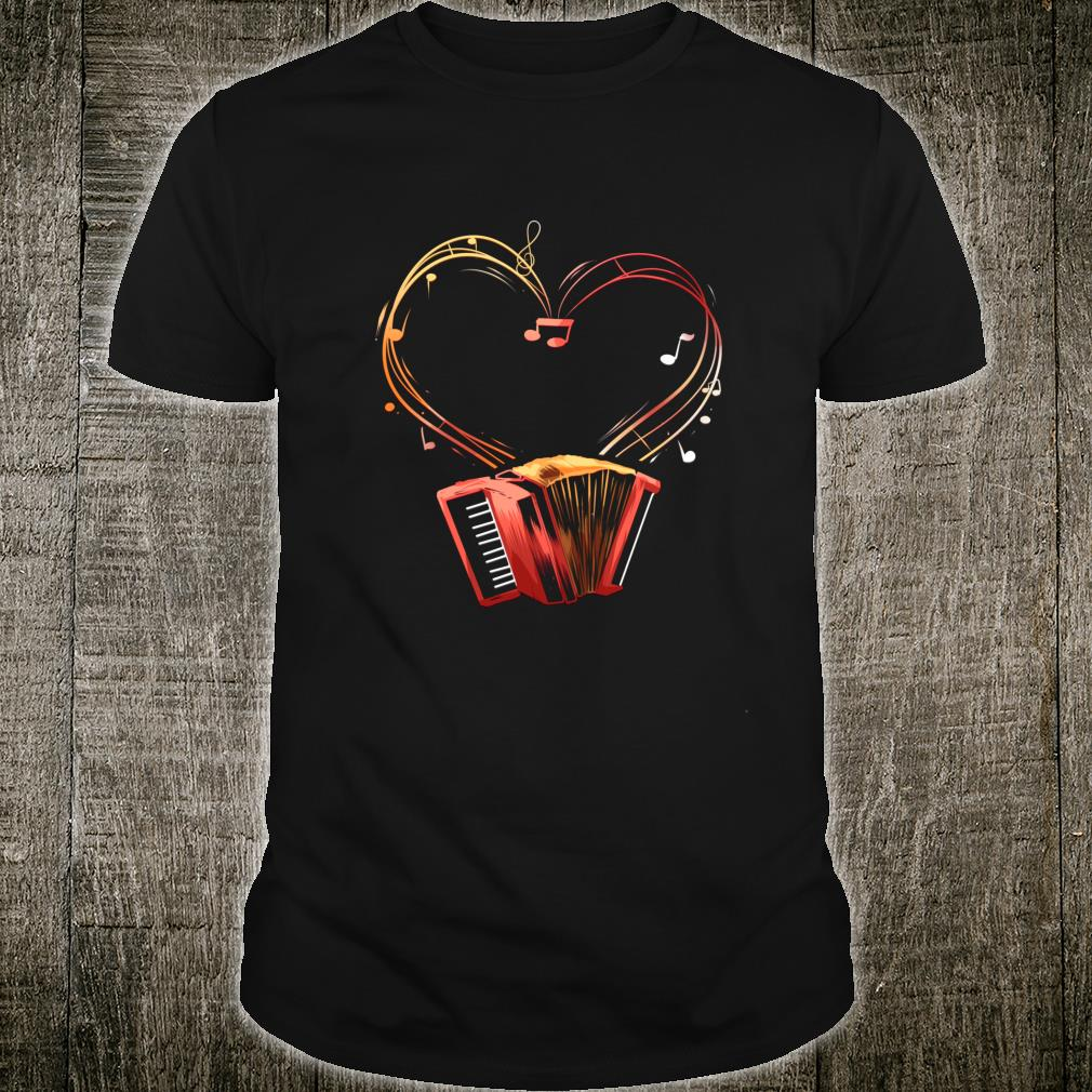 Akkordeon Herz Instrument Ziehharmonika Orchester Geschenk Shirt