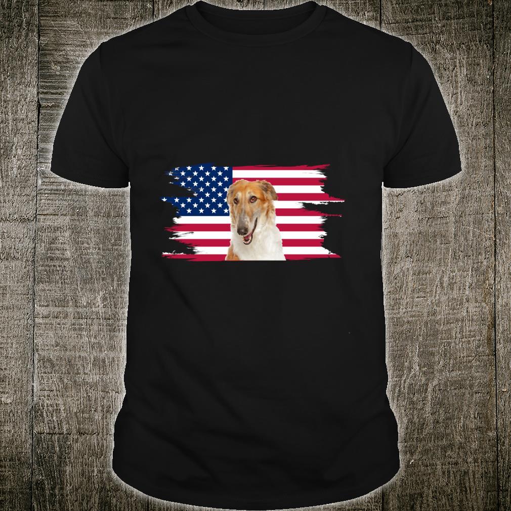 American Flag Dog Borzoi Shirt