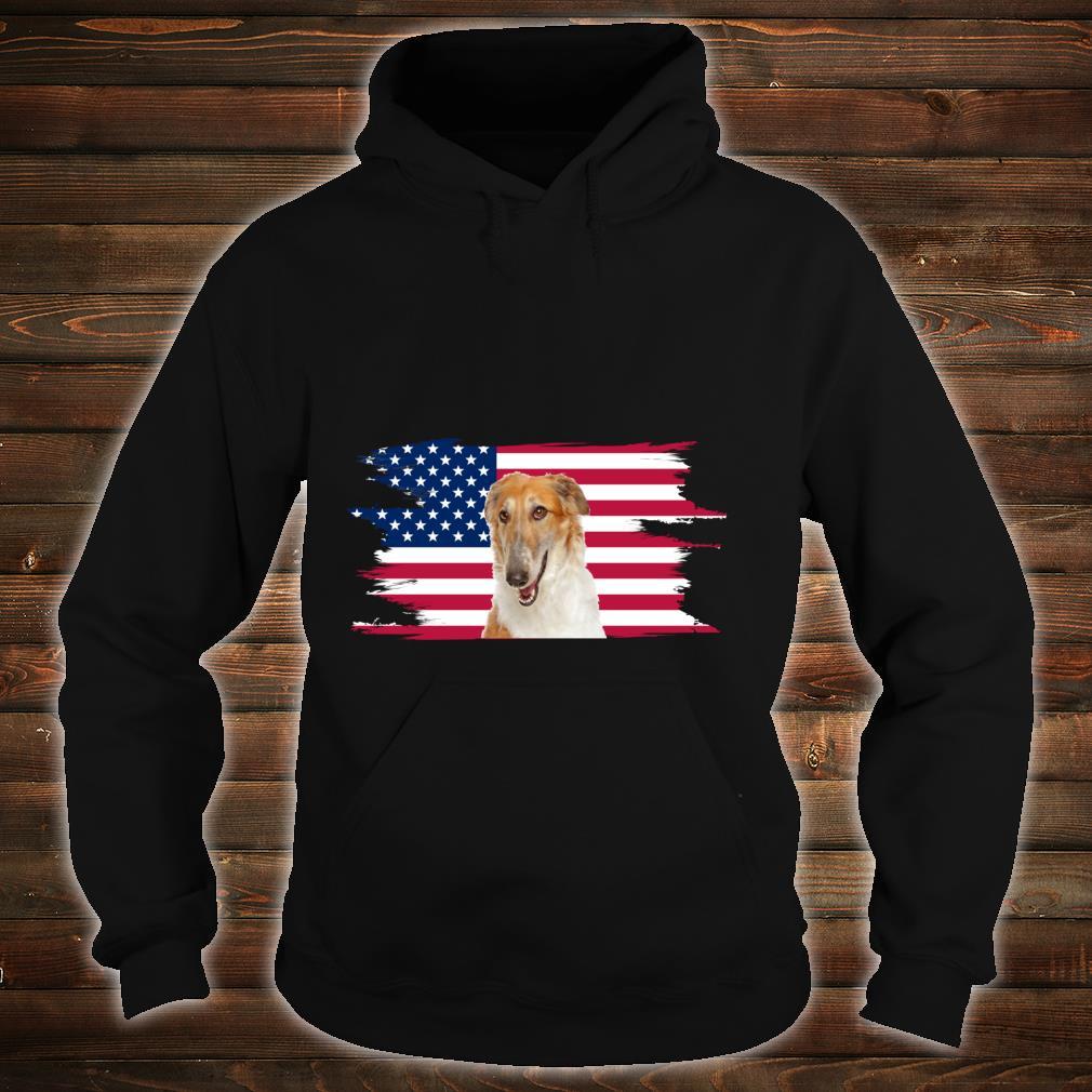 American Flag Dog Borzoi Shirt hoodie