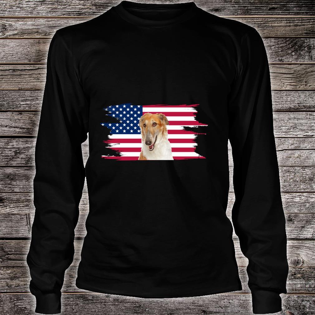 American Flag Dog Borzoi Shirt long sleeved