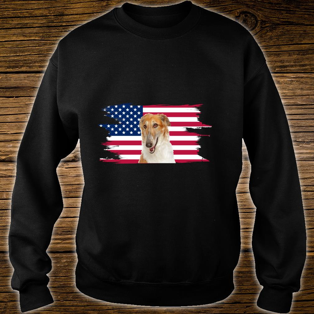 American Flag Dog Borzoi Shirt sweater
