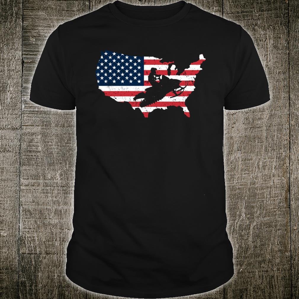 American Flag Snowmobile Winter Snowmobiling Shirt