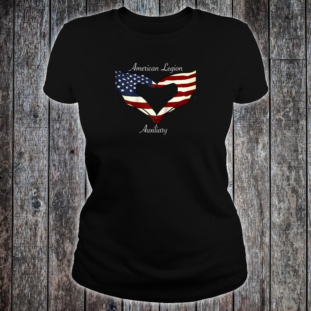 American Legion Auxiliary Flag Hands In Heart Military Vet Shirt ladies tee