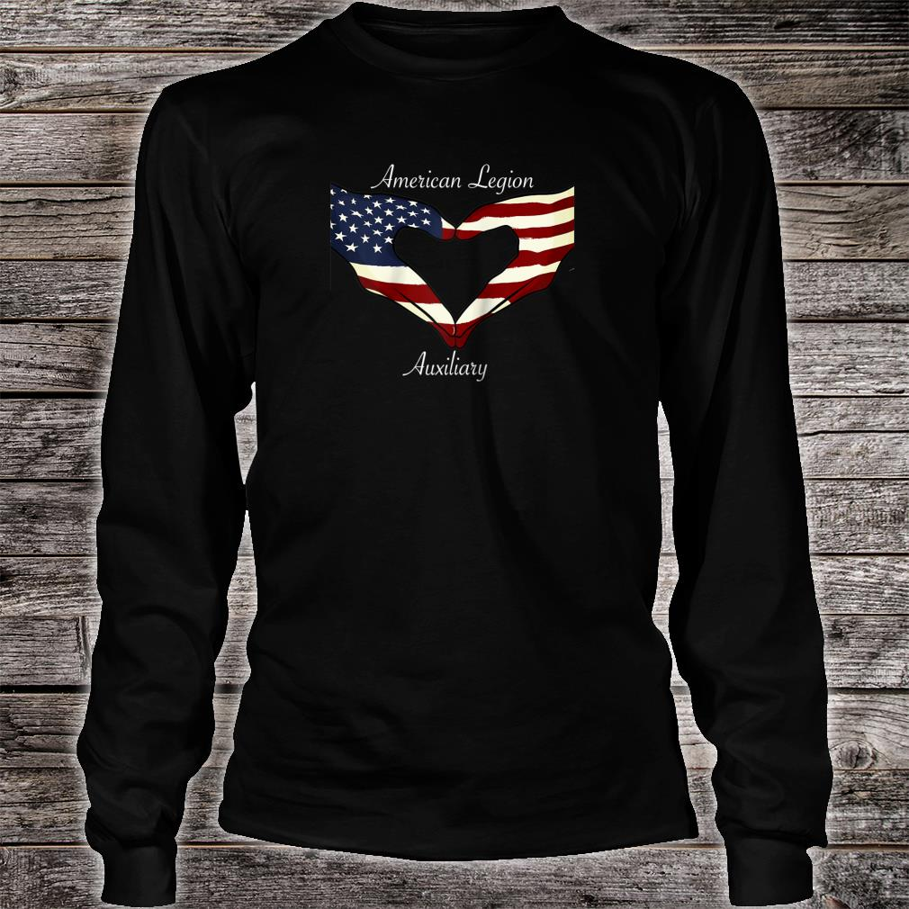 American Legion Auxiliary Flag Hands In Heart Military Vet Shirt long sleeved