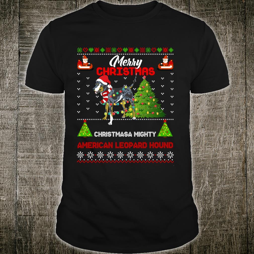 American Leopard Hound Dog Light Mighty Christmas Tree Xmas Shirt