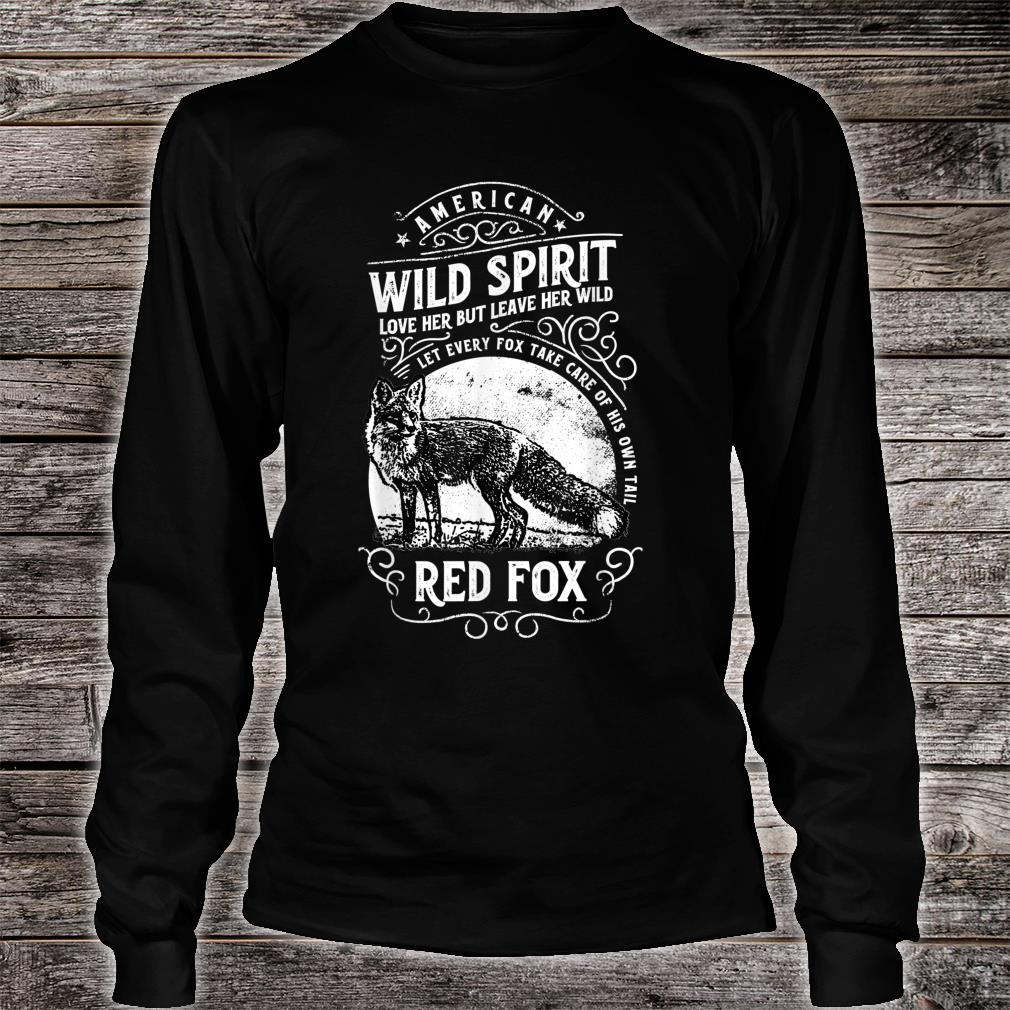 American Wild Spirit red Fox Vintages Shirt long sleeved