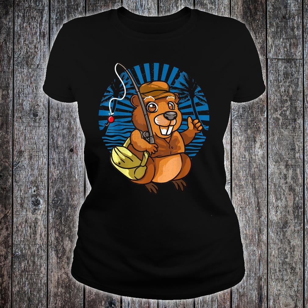 Animal Crossover Beavers Fisherman Shirt ladies tee