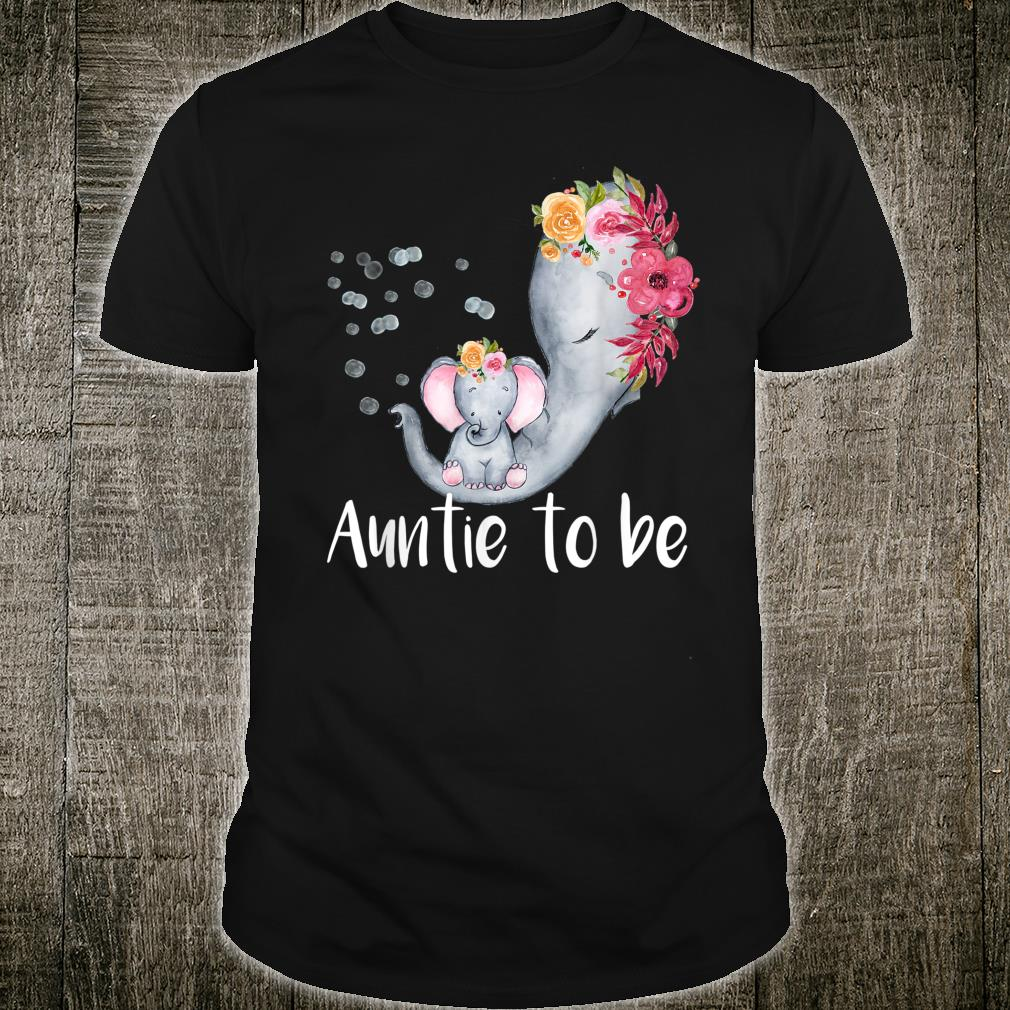 Auntie To Be Elephant Baby Shower For Girl Floral Shirt