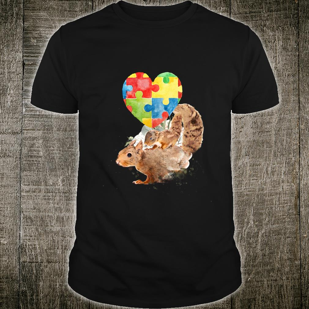 Autism Awareness Mommy Squirrel with Baby Puzzle Heart Love Shirt