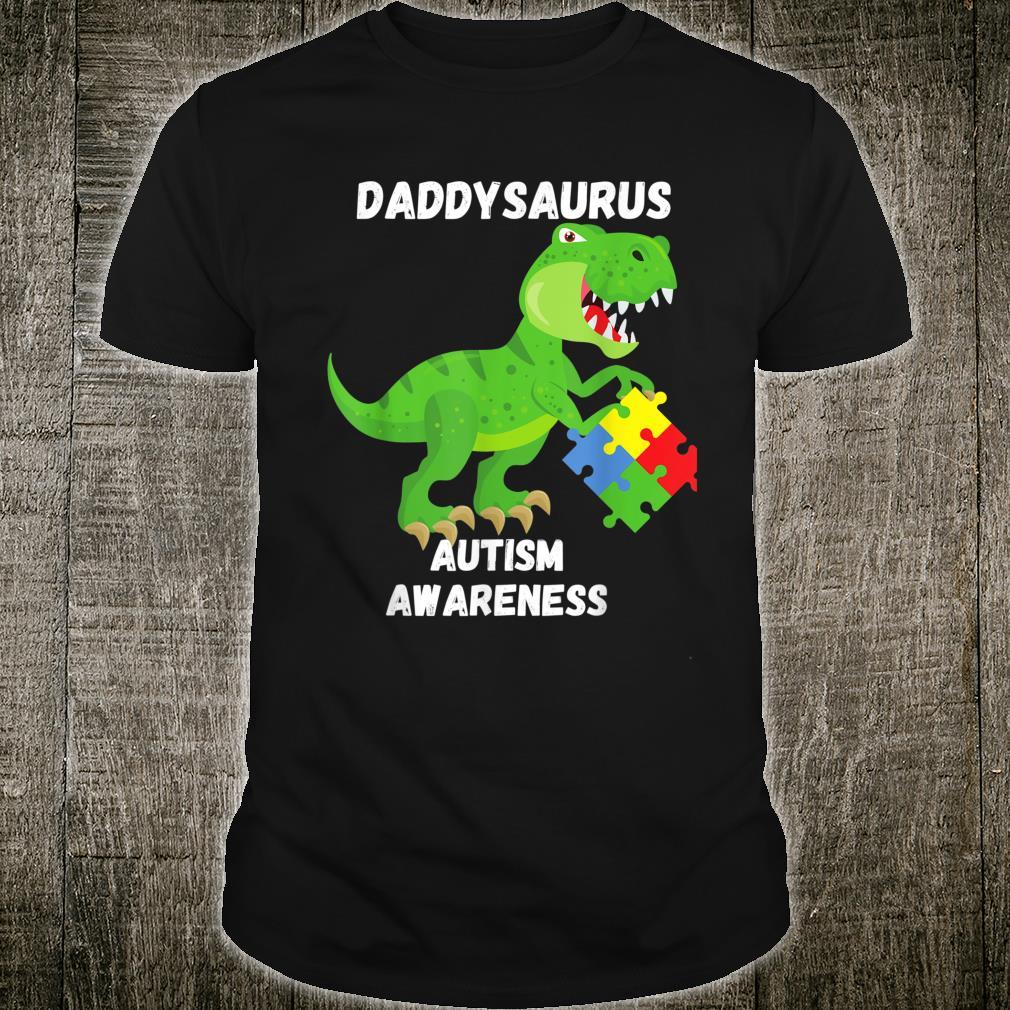 Autism Awareness T Rex Dinosaur Dad Puzzle Daddysaurus Shirt