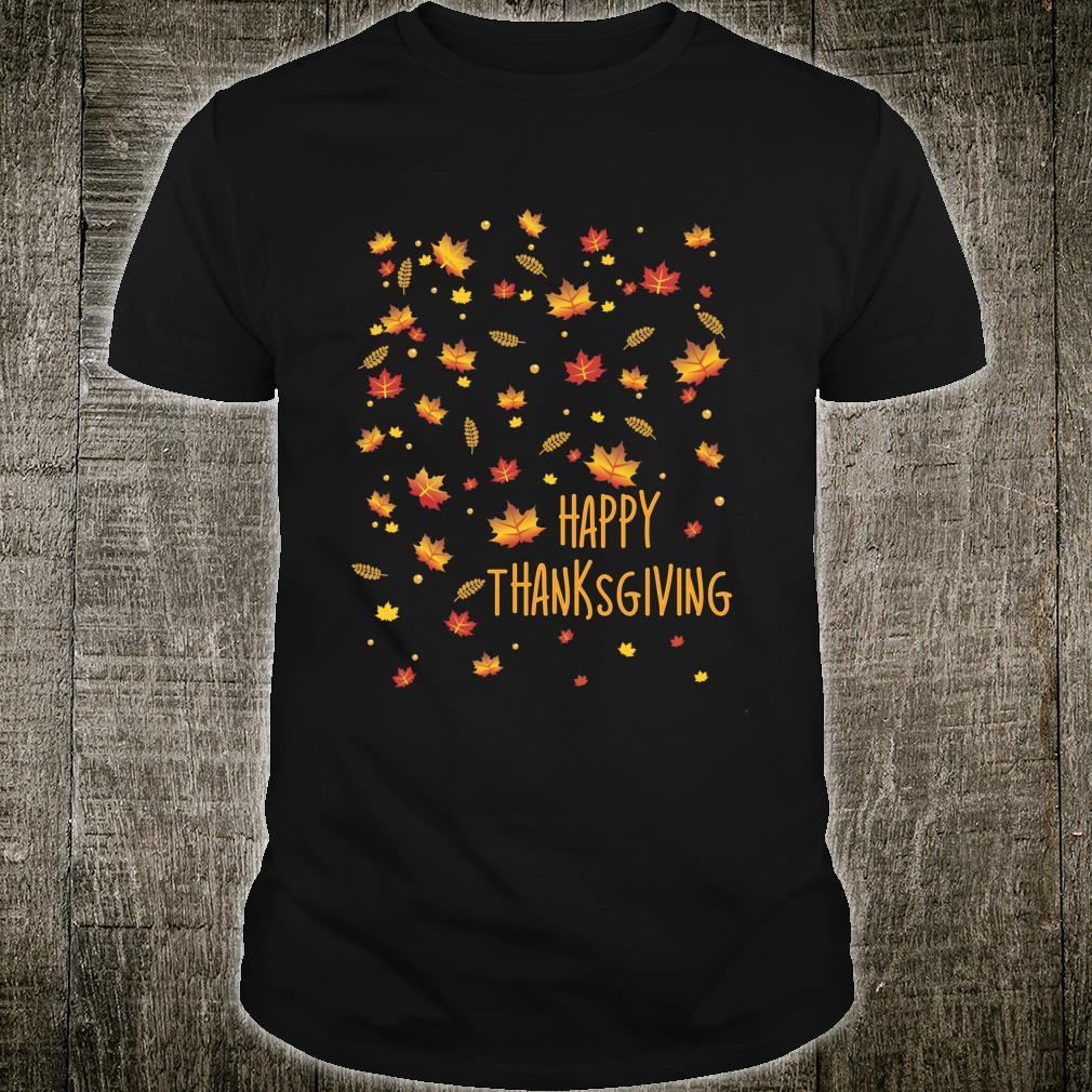 Autumn Falling leaves PatternHappy Thanksgiving Decor Shirt