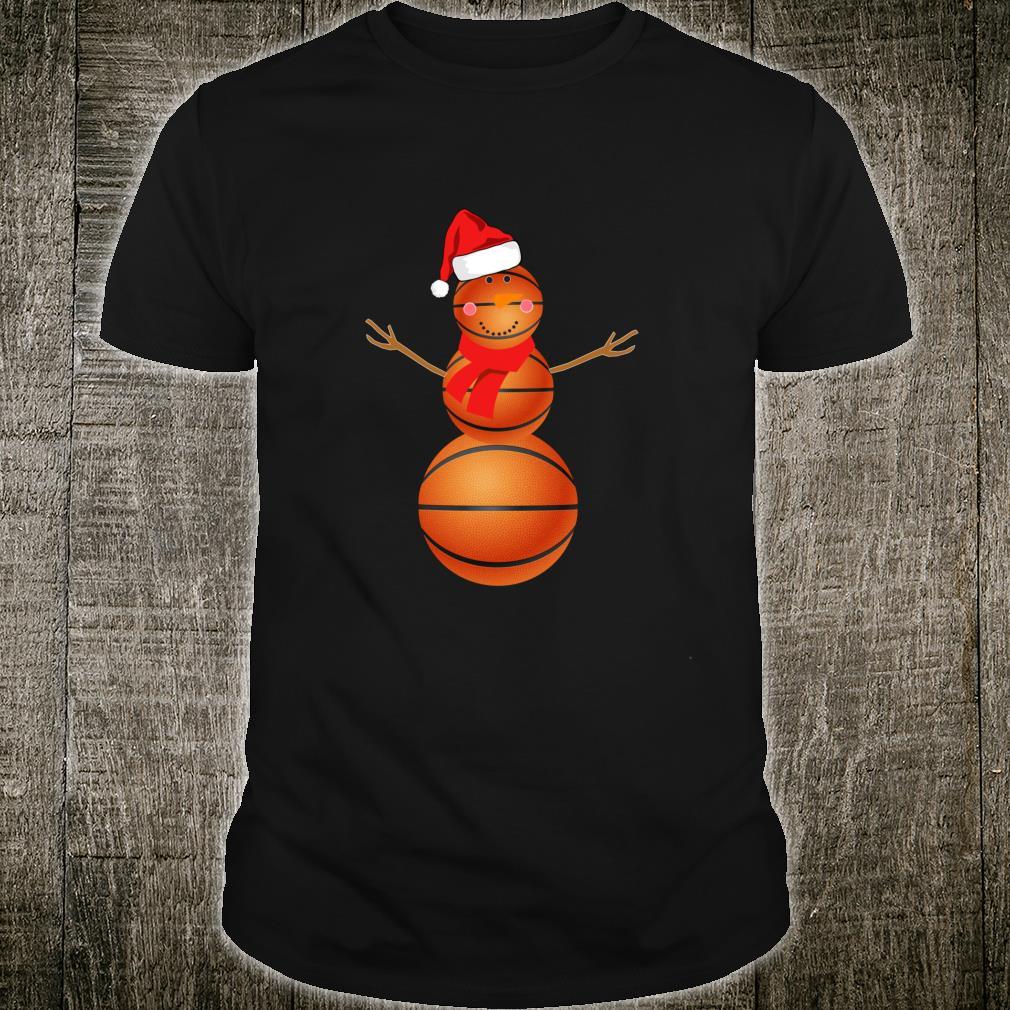Basketball Snowman Christmas Santa Hat Scarf Matching Pajama Shirt