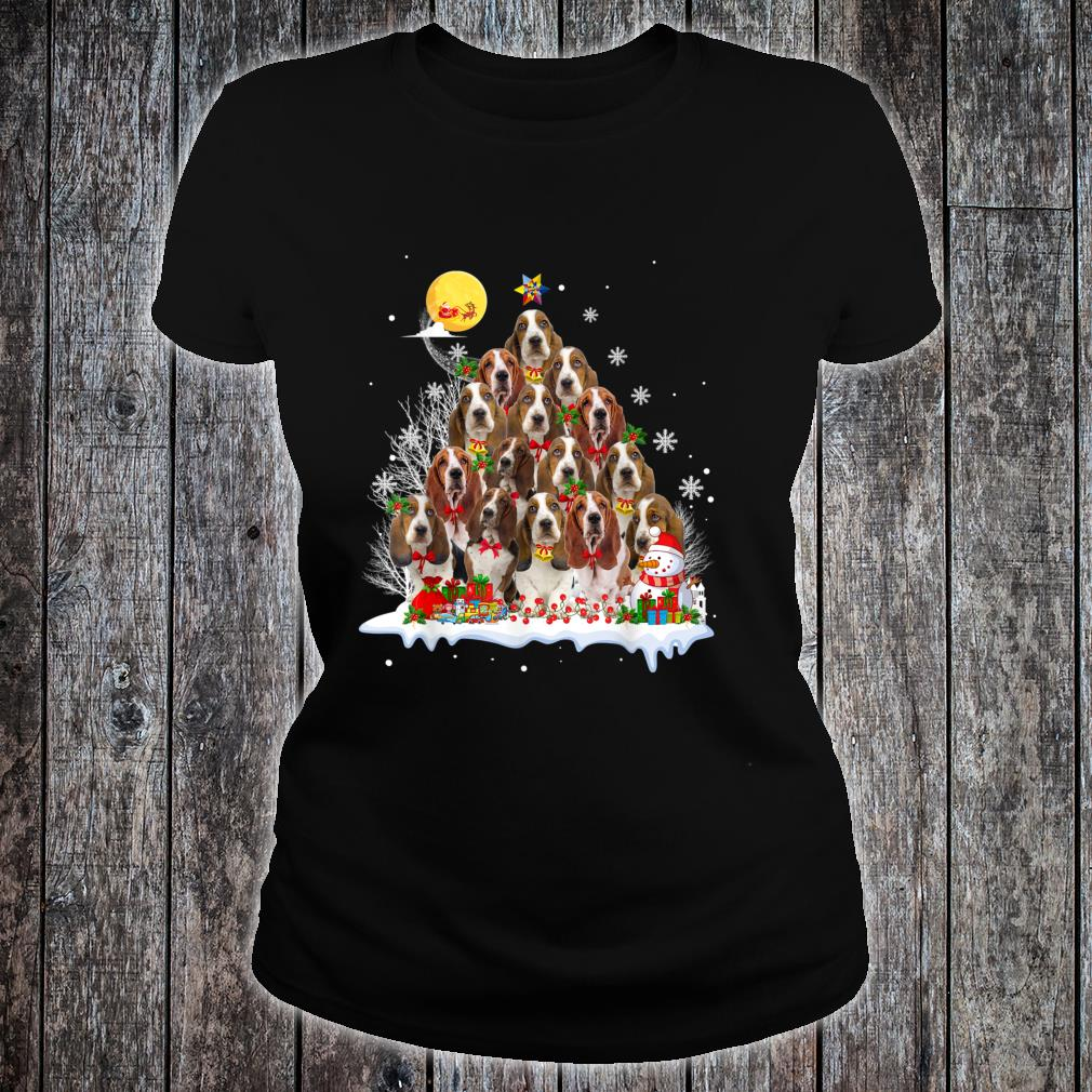 Basset Hound Dog Reindeer Pine Christmas 2020 Shirt ladies tee