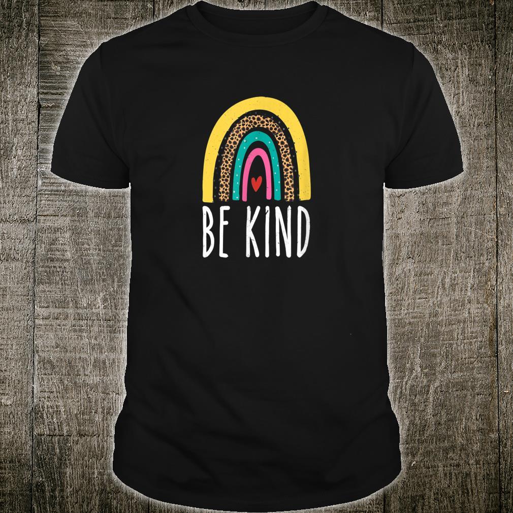 Be Kind Cute Retro Rainbow Distressed Inspirational Shirt