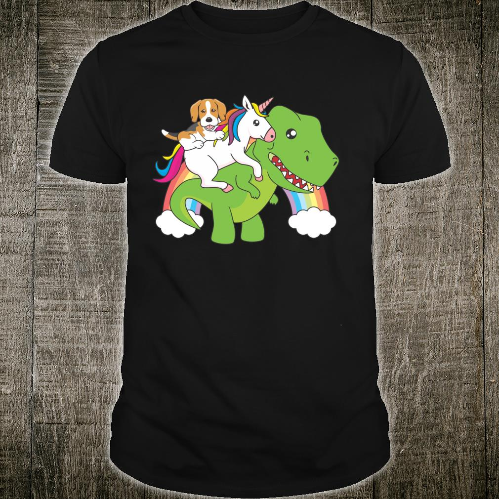 Beagle Riding A Unicorn And Dinosaur Dog Shirt