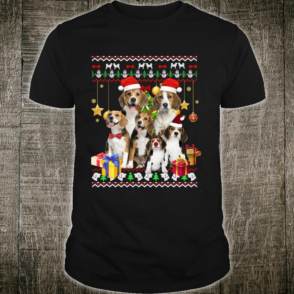 Beagle Ugly Christmas Santa Hat Shirt