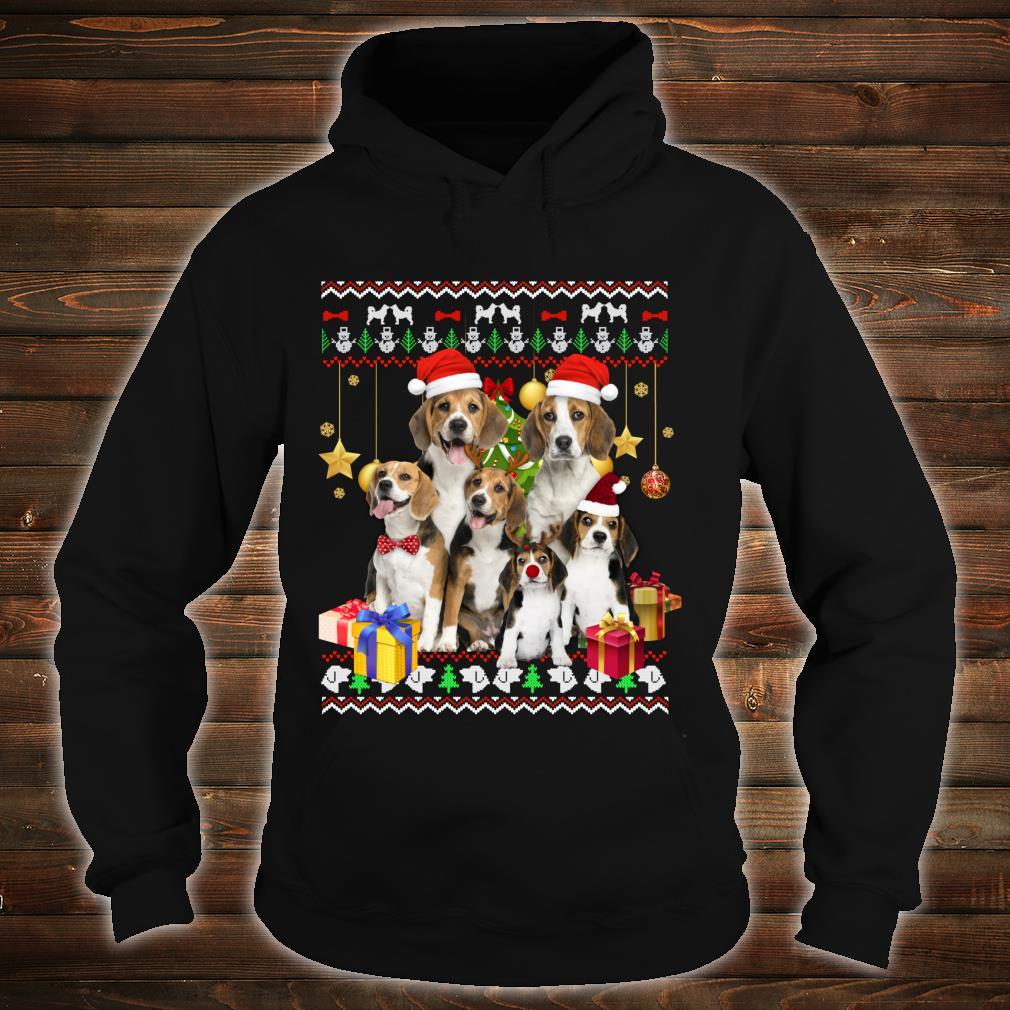 Beagle Ugly Christmas Santa Hat Shirt hoodie