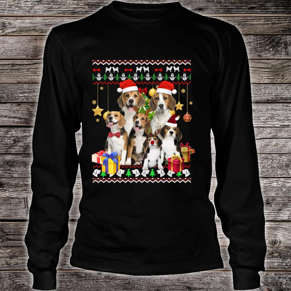 Beagle Ugly Christmas Santa Hat Shirt long sleeved