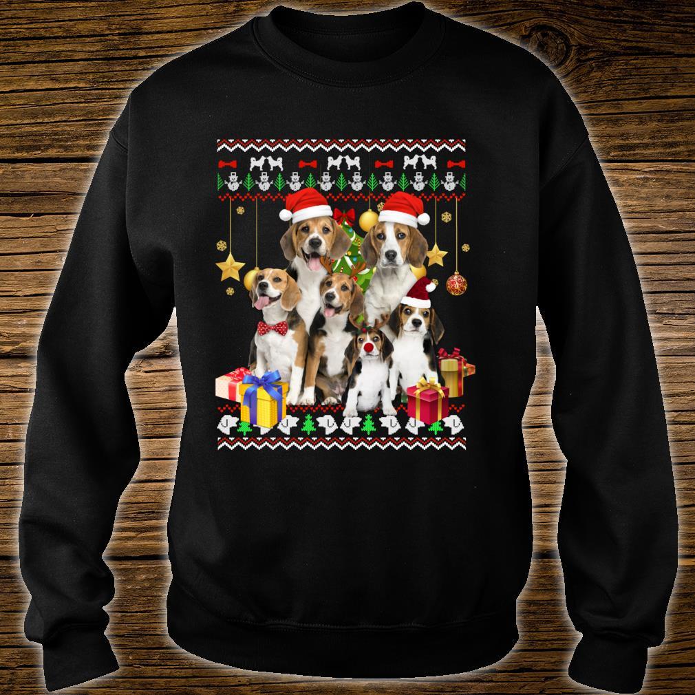 Beagle Ugly Christmas Santa Hat Shirt sweater
