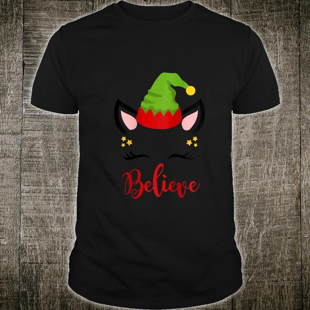Believe Christmas Shirt Pajama Top Unicorn Elf Hat for Shirt