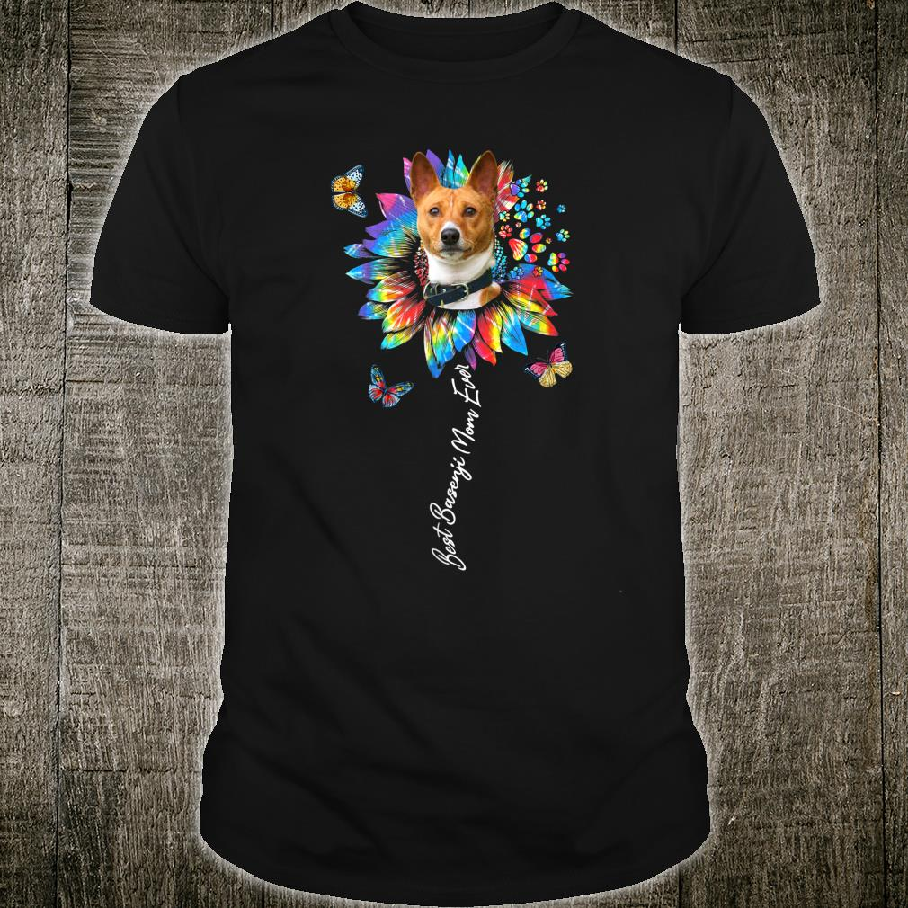 Best Basenji Mom Ever Sunflower Tie Dye Shirt