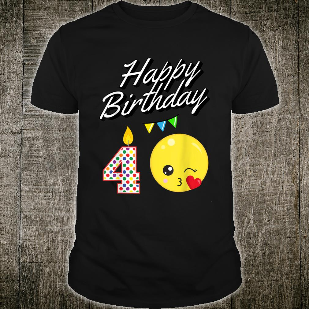 Blowing Kawaii For 4 Year Old Birthday Shirt
