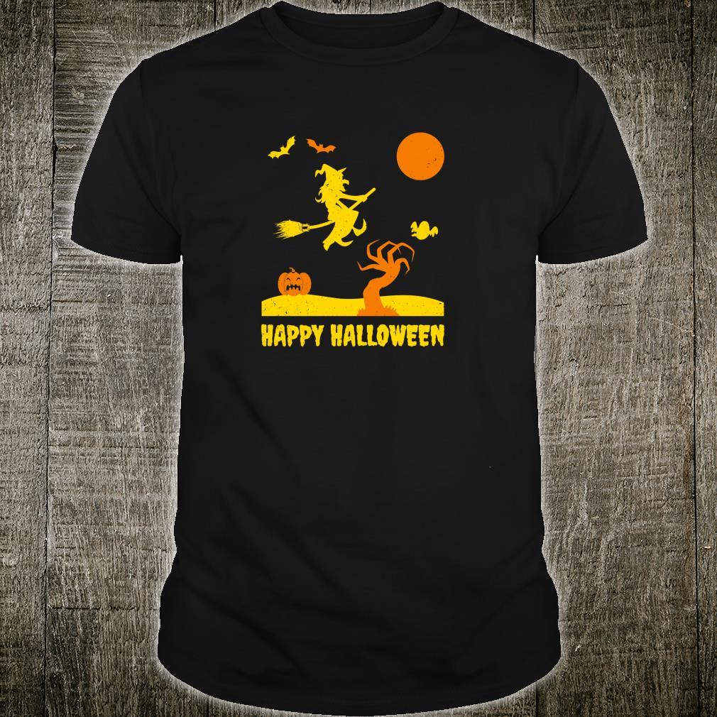 Boo Halloween Gespenstischer Baum Fliegen Fledermäuse Shirt