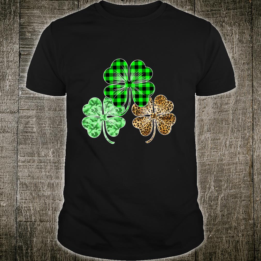 Buffalo Plaid Leopard Shamrock St Patricks Day Irish Shirt