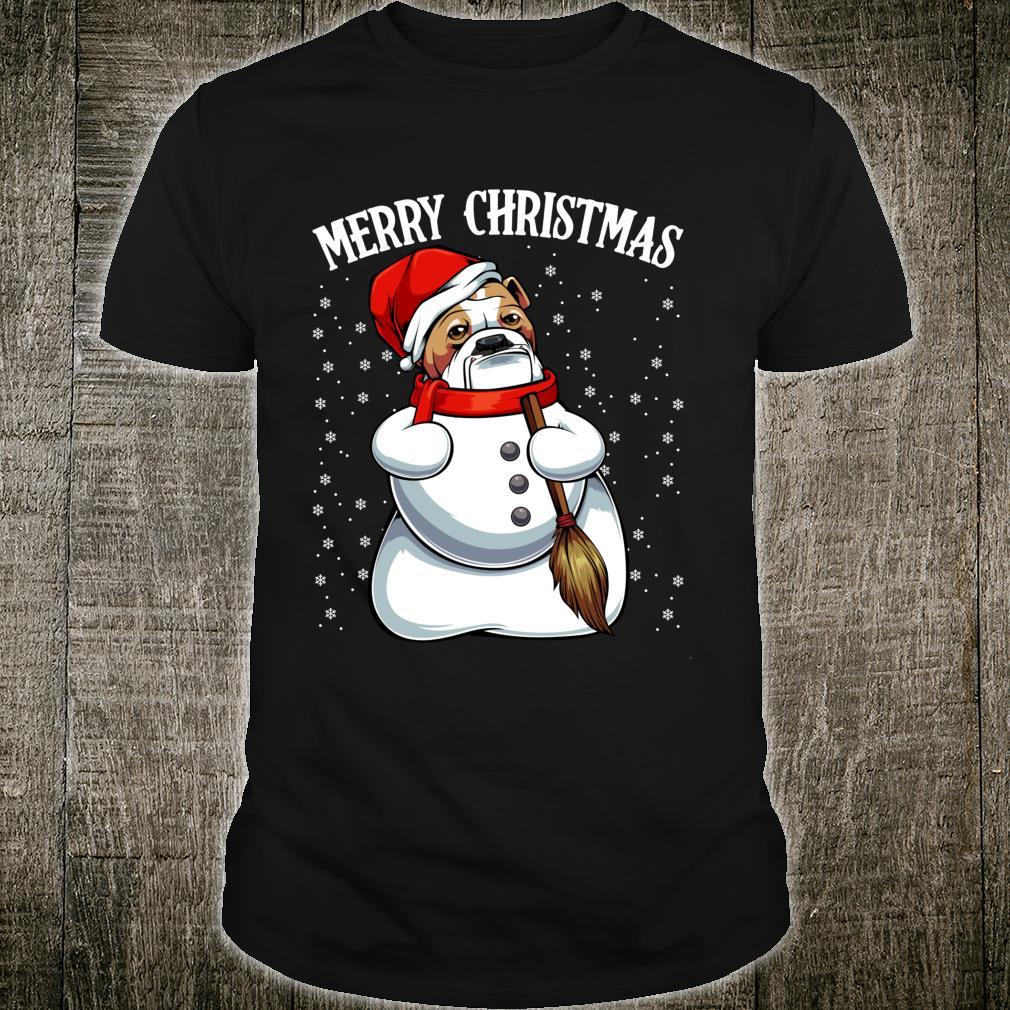 Bulldog Santa Claus Hat Merry Christmas Snowman Xmas Party Shirt