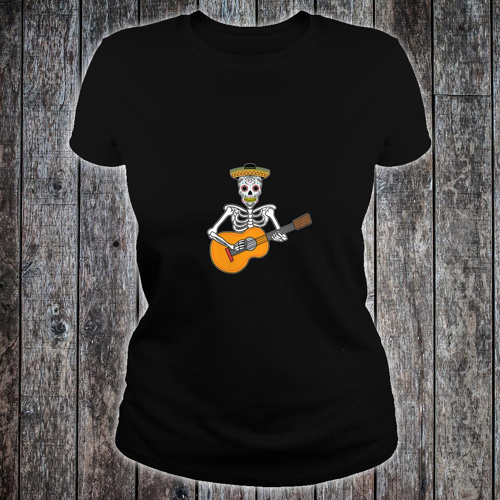 Calavera Playing Guitar Design Day of The Dead Shirt ladies tee