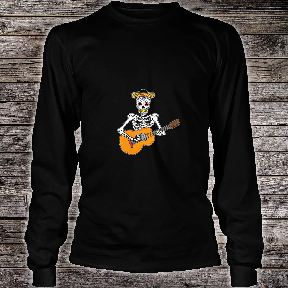 Calavera Playing Guitar Design Day of The Dead Shirt long sleeved