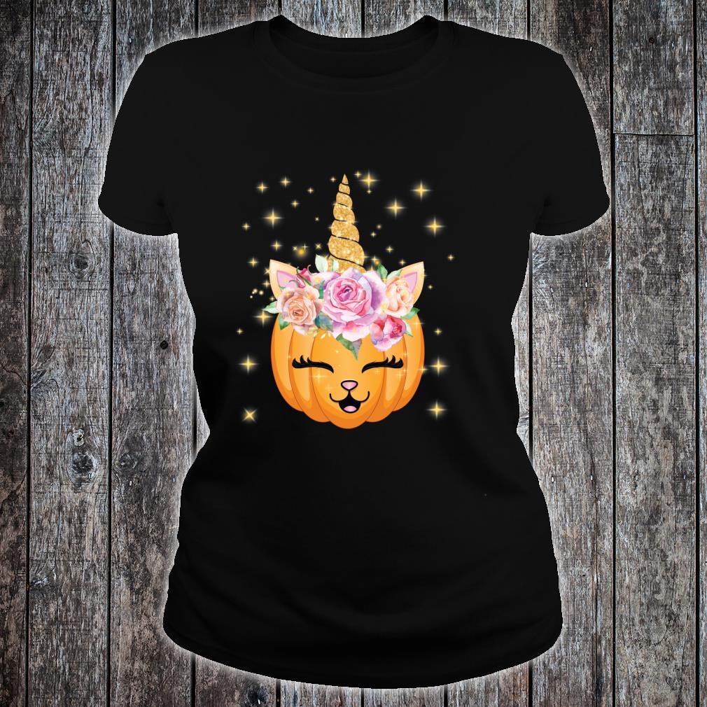 Cat Halloween Shirt Girls Cute Unicorn Cat Shirt ladies tee