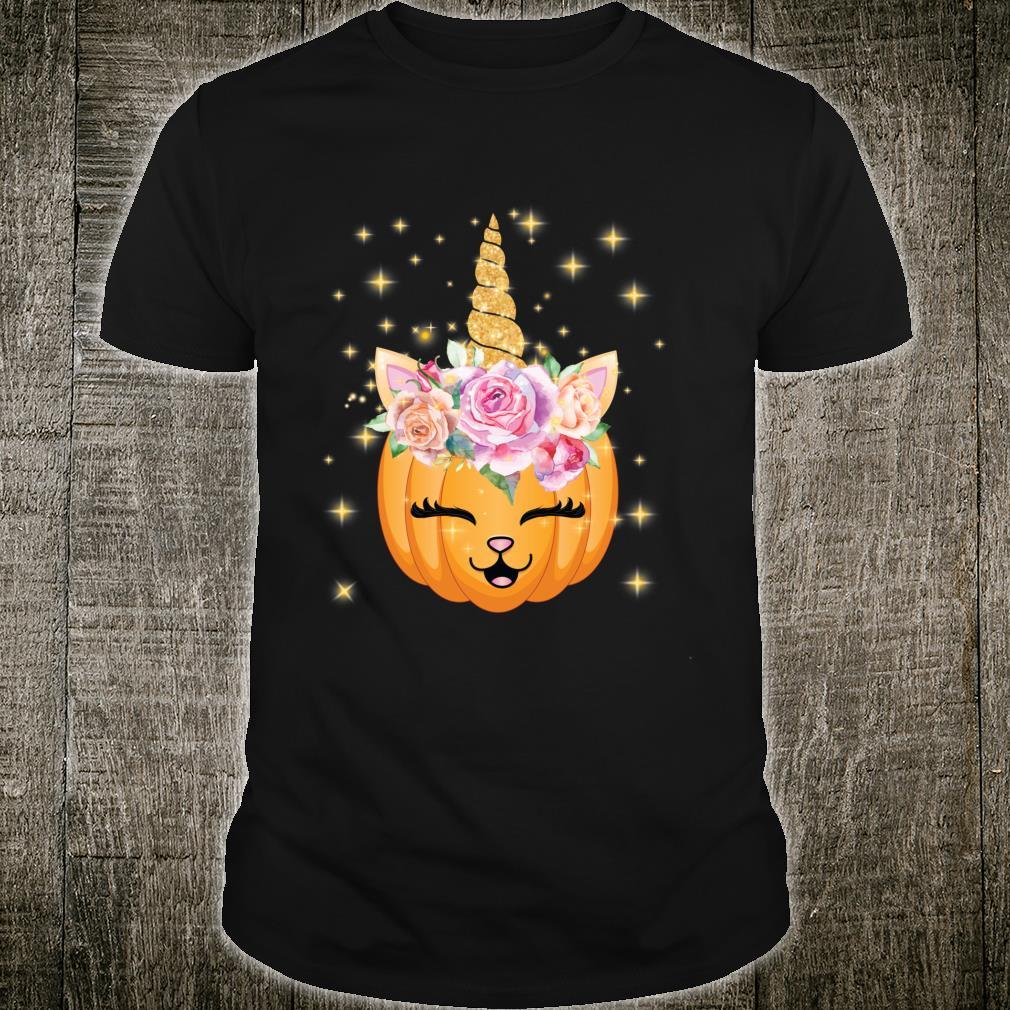 Cat Halloween Shirt Girls Cute Unicorn Cat Shirt