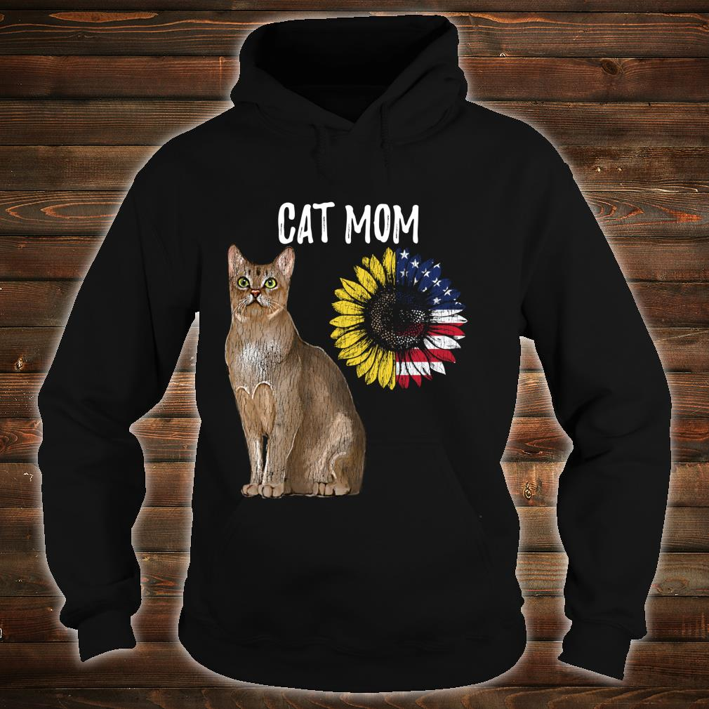 Cat Mom Kitty Sunflower American Flag Cat Mother's day Shirt hoodie