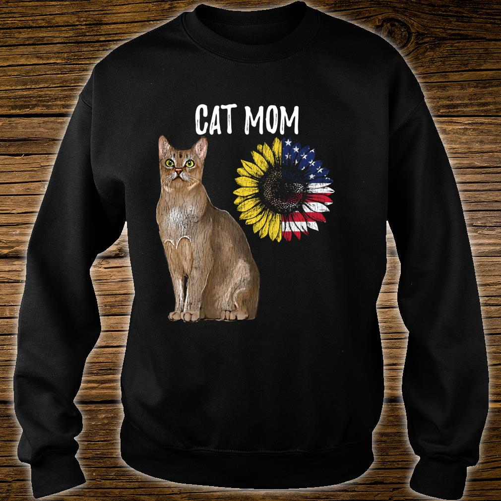 Cat Mom Kitty Sunflower American Flag Cat Mother's day Shirt sweater