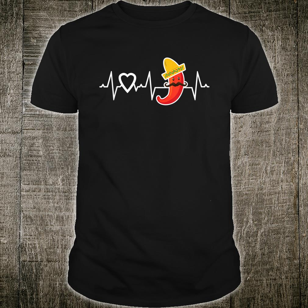 Chili Pepper Heartbeat I Love Peppers Mexican Food Novelty Shirt