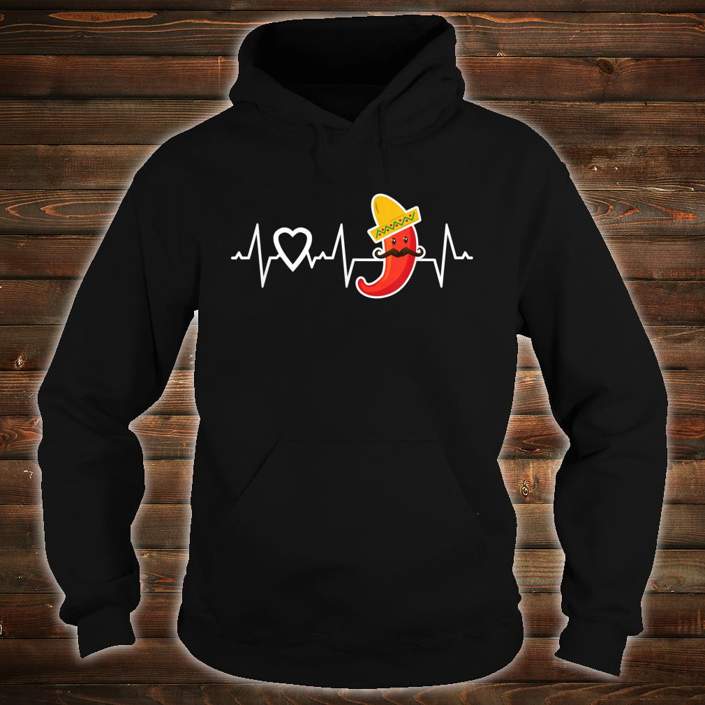 Chili Pepper Heartbeat I Love Peppers Mexican Food Novelty Shirt hoodie