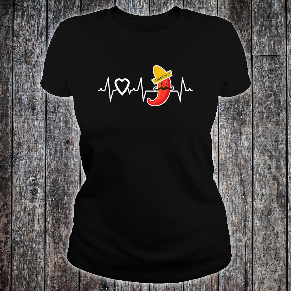 Chili Pepper Heartbeat I Love Peppers Mexican Food Novelty Shirt ladies tee