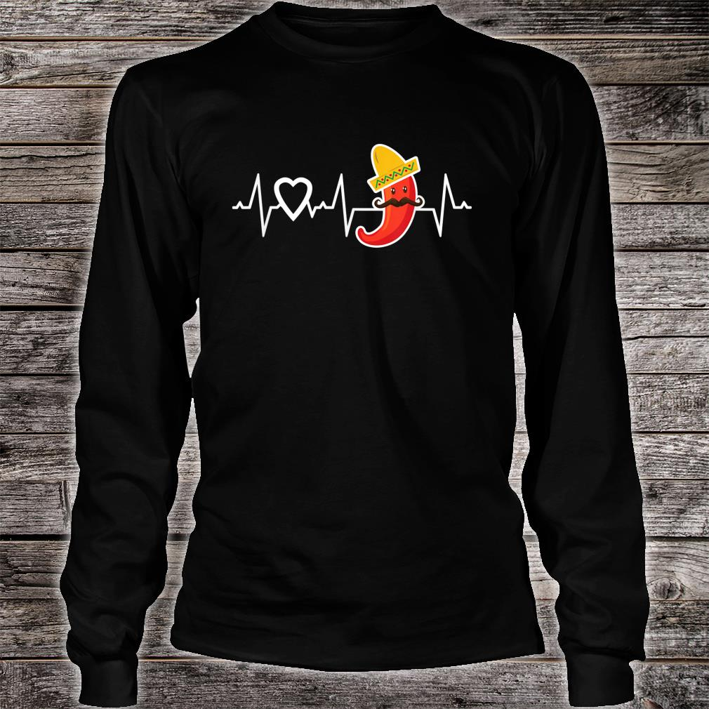 Chili Pepper Heartbeat I Love Peppers Mexican Food Novelty Shirt long sleeved