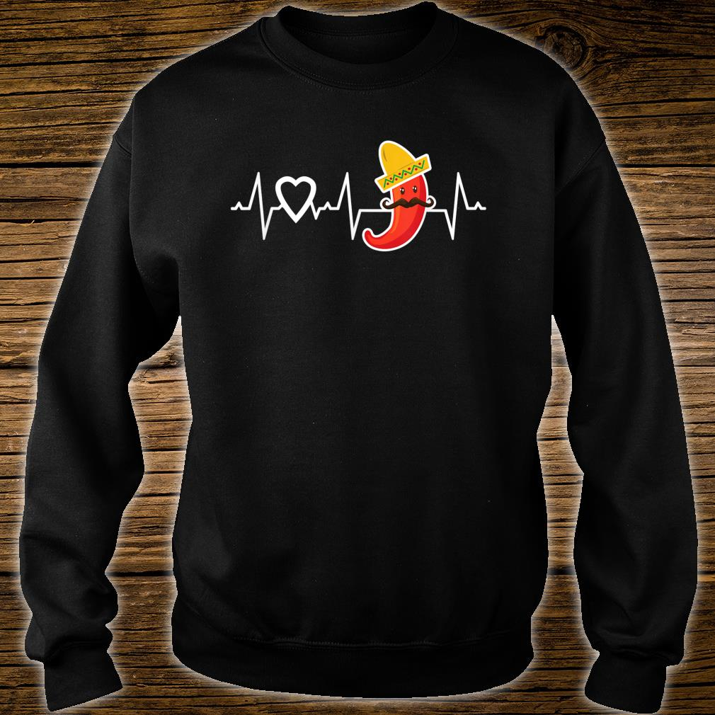 Chili Pepper Heartbeat I Love Peppers Mexican Food Novelty Shirt sweater