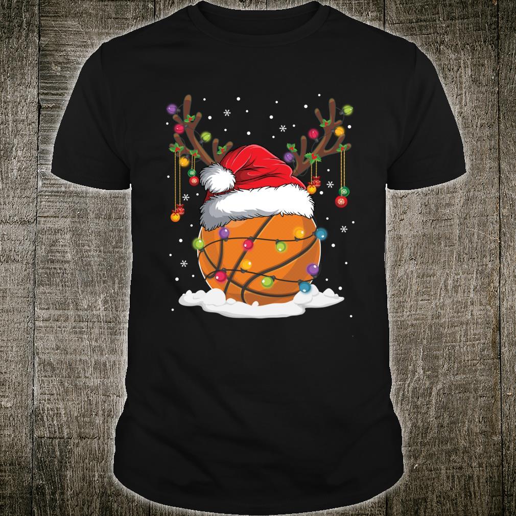 Christmas Basketball Reindeer Santa Hat Xmas Shirt