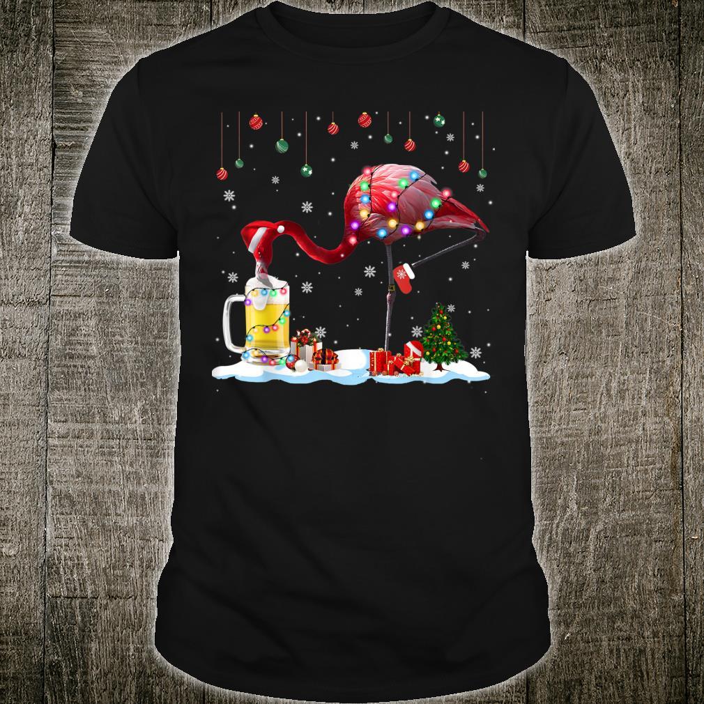 Christmas Flamingo Drinking Beer Santa Flamingo Shirt