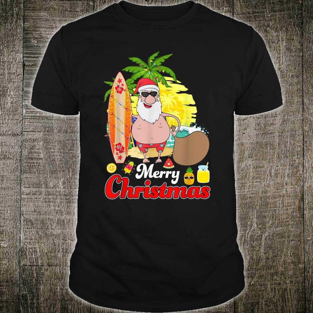 Christmas In July Party Costume Clothing Santa Surfing Shirt