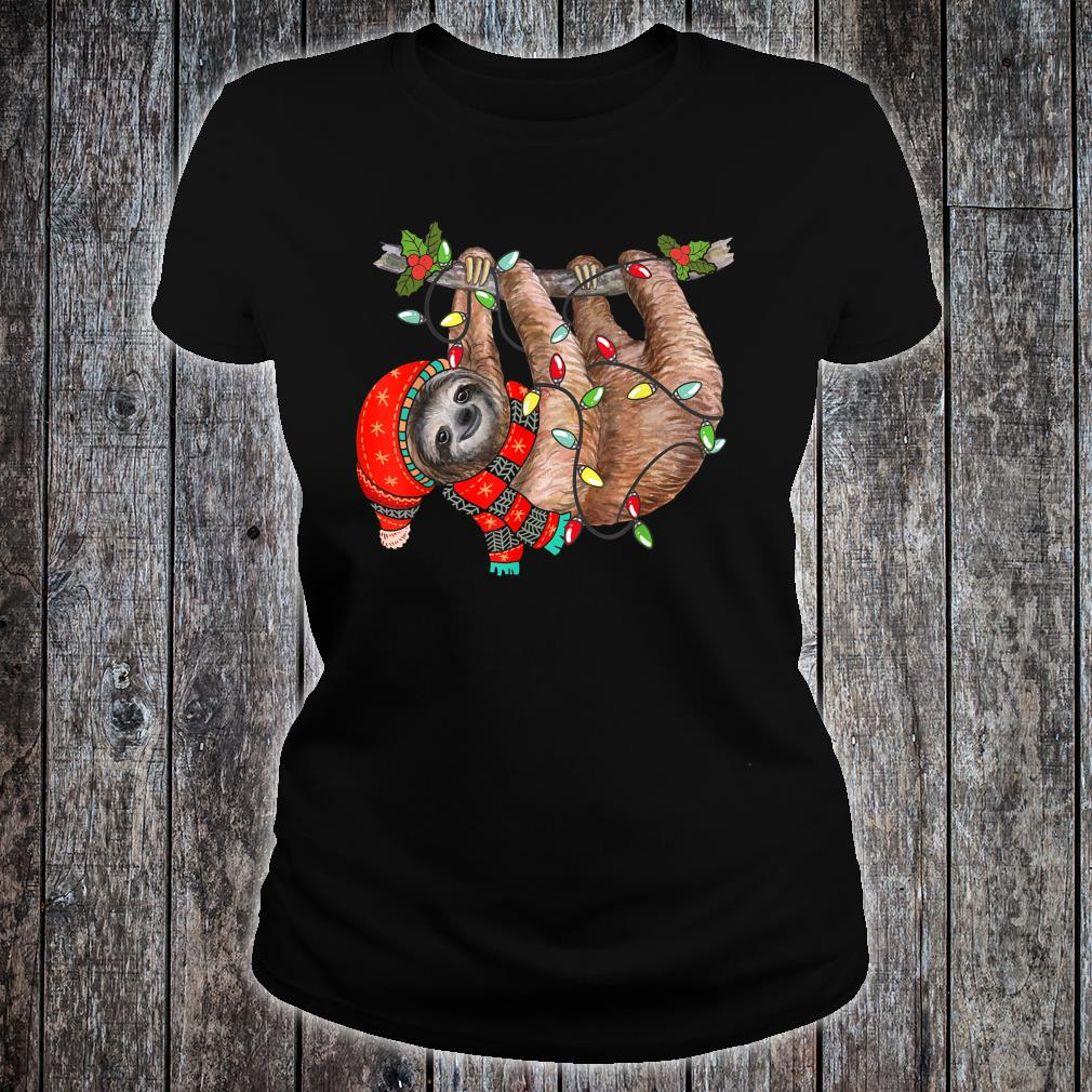 Christmas Lights Sloths Celebrates Xmas Holiday Shirt ladies tee
