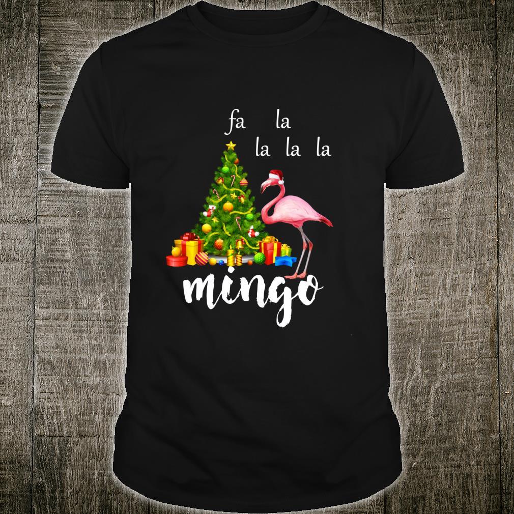 Christmas Pink Flamingo Santa Hat Product Shirt