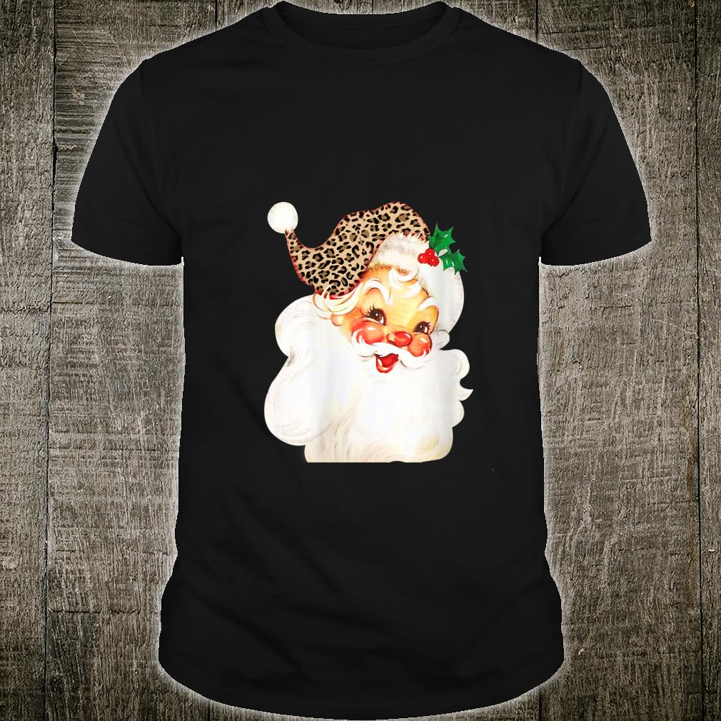 Christmas Santa for Leopard Mom Wifen Shirt