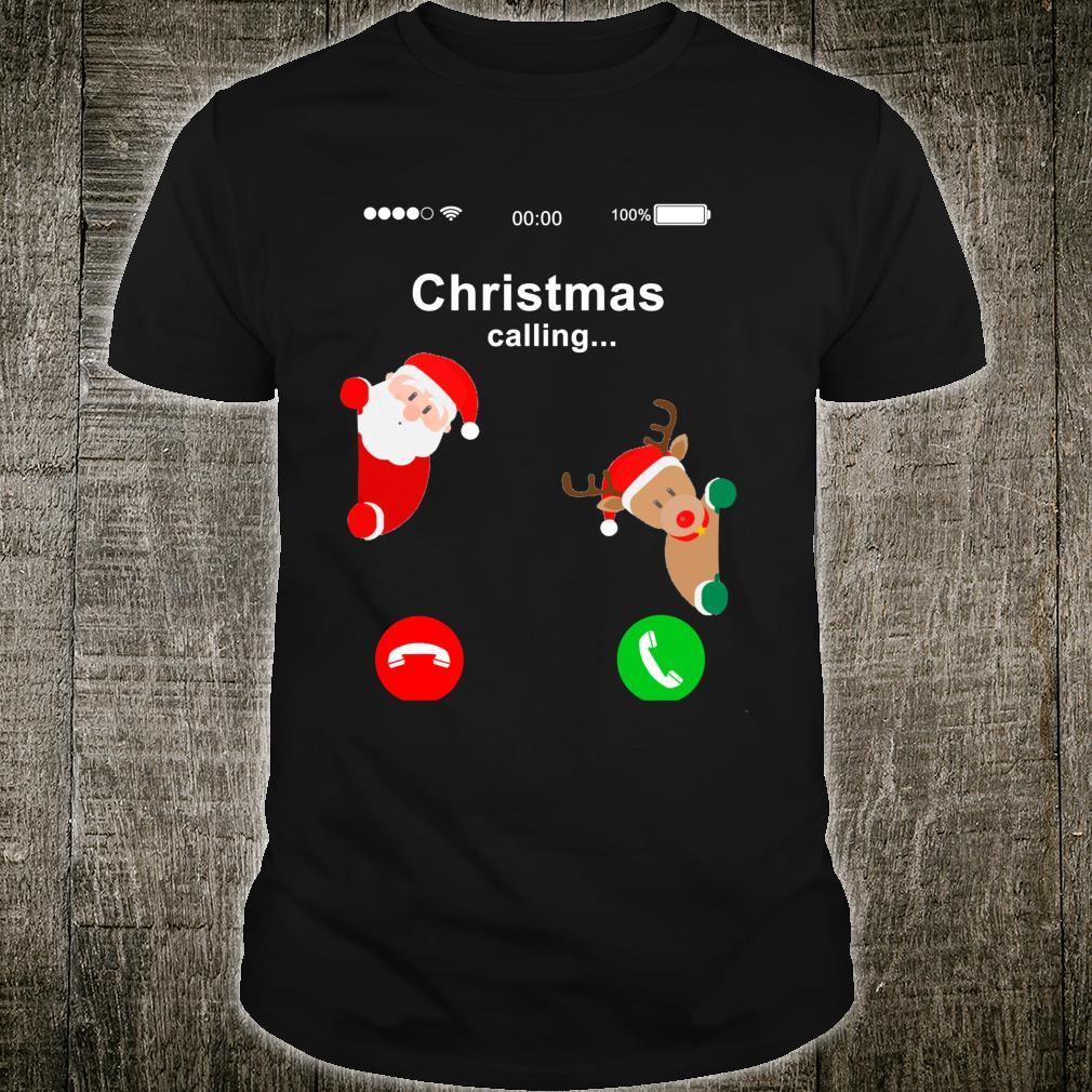 Christmas is Calling Santa Claus Deer Mobile Phone Screen Shirt