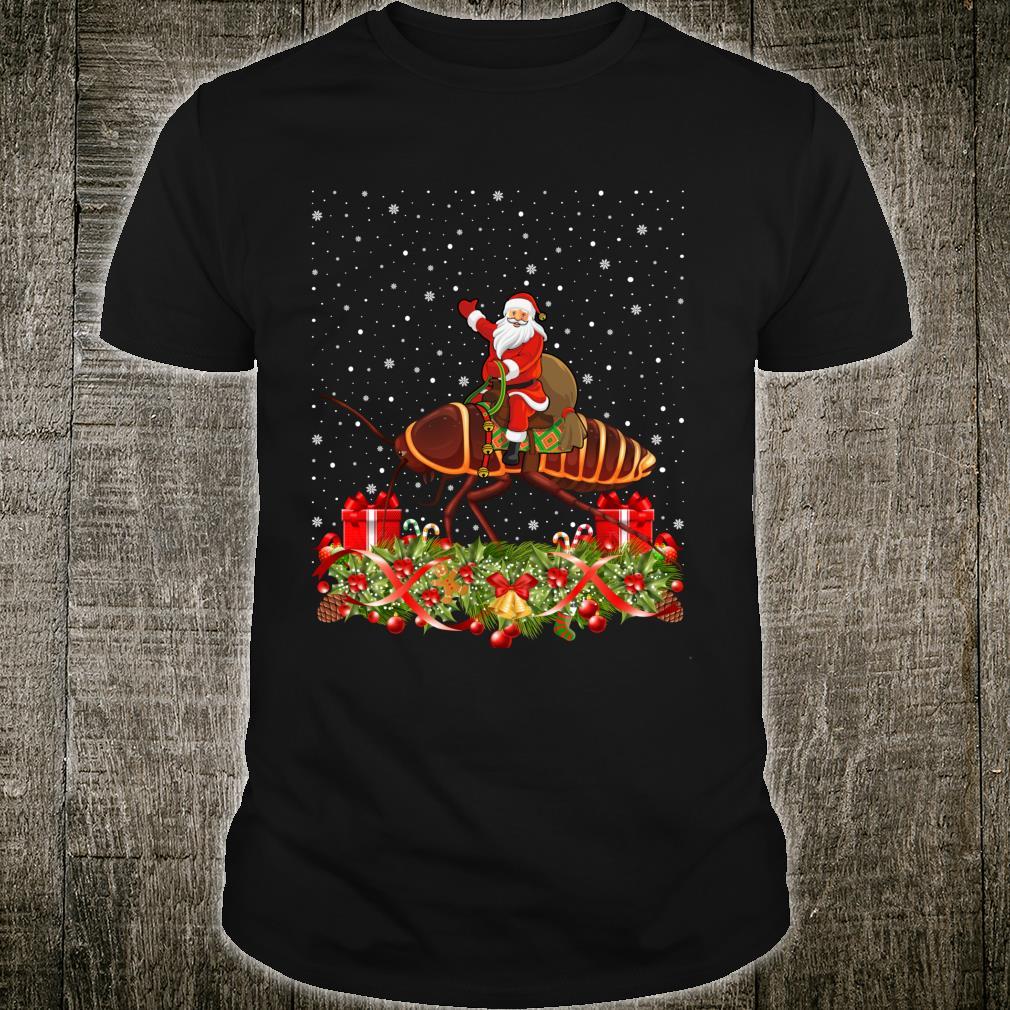 Cockroach Xmas Santa Riding Cockroach Christmas Shirt